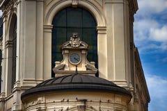 Clock on building, chiming clock. Limoges, France - September 28, 2017: clock on building, chiming clock stock photo