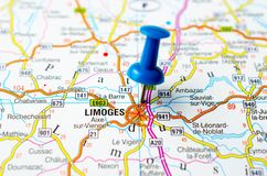 Limoges on map. With push pin Stock Photo