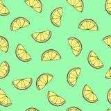 Fresh lemon pattern on the light green background. Abstract illustration vector illustration