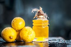 Limon de Ã- do citrino, limão com óleo de limão imagens de stock royalty free