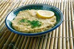 Limon Soslu Humus. Hummus with Lemon Sauce Stock Image