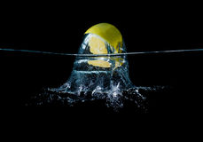 Limon in water splash. Sparkling, slice, refreshing stock photo