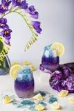Limonada azul del hielo de mariposa de la flor tropical del guisante fotos de archivo