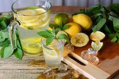 Limonada com hortelã e limão na tabela Fotografia de Stock