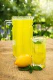 Limonada de la fruta cítrica en jarra Imagen de archivo
