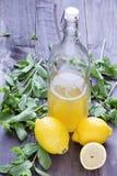 A limonada de refrescamento bebe e frutos maduros no fundo de madeira Foto de Stock Royalty Free