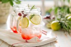 Limonada do arando no frasco de vidro Fotografia de Stock Royalty Free