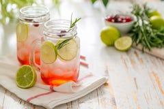 Limonada do arando no frasco de vidro Fotografia de Stock