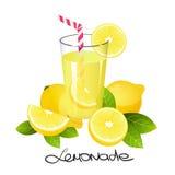 Limonada fresca com fatia do fruto do limão Citrino suculento realístico com ilustração do vetor das folhas Imagem de Stock Royalty Free
