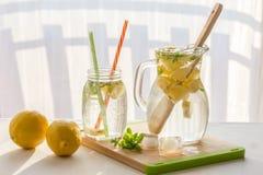 Limonada hecha en casa con los limones, la menta y el hielo, primer imagen de archivo