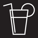 Limonada, linha fresca ícone da bebida, sinal branco do esboço, ilustração do vetor Imagem de Stock