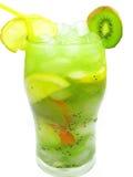 Limonada verde do smoothie da fruta com quivi imagem de stock