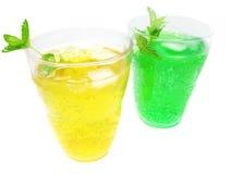 Limonada verde e amarela fotografia de stock