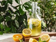 Limonade d'agrume avec des glaçons dans le graphique de vintage Boisson Limoncello d'été Photographie stock