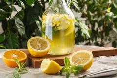 Limonade d'agrume avec des glaçons dans le graphique de vintage Boisson Limoncello d'été Images stock