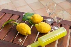 Limonade in einer Glasflasche, Gläser, Zitronen auf Zweigen mit Blättern auf einem Holztisch Lizenzfreie Stockfotos
