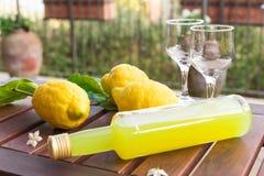 Limonade in einer Glasflasche, Gläser, Zitronen auf Zweigen mit Blättern auf einem Holztisch Stockbild