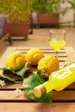 Limonade in einer Glasflasche, Gläser, Zitronen auf Zweigen mit Blättern auf einem Holztisch Lizenzfreies Stockbild