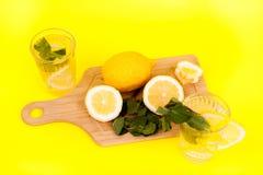 Limonade froide et savoureuse faite de citrons organiques et frais photographie stock libre de droits
