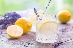 Limonade met citroenen en lavendel stock foto's
