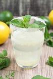 Limonade met verse citroen en munt Stock Foto
