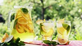 Limonade mit Eis-, Orangen- und Kalkscheiben in einem Glas stock video footage