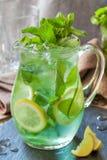 Limonade mit tadelloser Gurke und Zitrone Lizenzfreies Stockbild