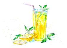 Limonade mit Zitrone und Minze lizenzfreie abbildung