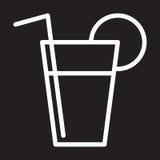 Limonade, neue Getränklinie Ikone, weißes Entwurfszeichen, Vektorillustration Stockbild