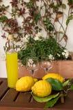 Limonade oder limoncello in einer Glasflasche, Gläser, Zitronen mit Blättern auf einem Holztisch, im Hintergrund von Töpfen mit d Stockbild