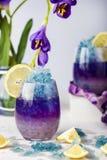 Limonata blu del ghiaccio di farfalla del fiore tropicale del pisello fotografia stock libera da diritti