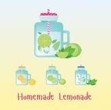 Limonata casalinga fresca in bottiglia d'annata Illustrazione della bevanda Segno della bevanda con in rubinetto per il partito Fotografia Stock
