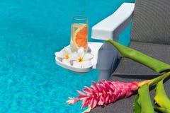 Limonata con i fiori alla piscina Immagine Stock Libera da Diritti