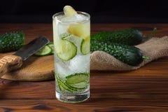 Limonata del cetriolo con ghiaccio Fotografia Stock Libera da Diritti