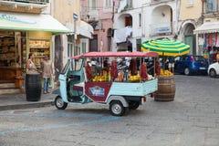 Limoncello Advertising Ape Car, Ischia Royalty Free Stock Image