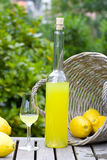 Limoncello and basket with lemons Stock Images