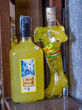 Italian Limoncello. Bottles of Limoncello, the traditional Italian lemon liqueur mainly produced in Southern Italy, especially in the region around the Gulf of Royalty Free Stock Photos