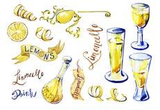 Limoncello caseiro tradicional do licor do limão de Italiann ilustração stock