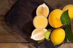 Limoncello in een glas en verse citrusvruchten met groene bladeren Traditionele Italiaanse citroenlikeur Alcohol op houten dark stock fotografie