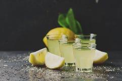 Limoncello tradicional italiano del licor con el limón imagen de archivo libre de regalías