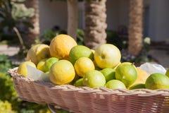 Limone alla linea del buffet nel ramo dell'hotel Merce nel carrello fresca del limone e colpo del fuoco selettivo Fotografia Stock