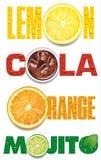 Limone, arancia, mojito, testo della cola con le gocce di acqua Immagine Stock