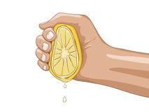 Limone con l'illustrazione di vettore della mano Immagini Stock Libere da Diritti