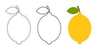 Limone da colorare e linea di traccia gioco educativo per i bambini royalty illustrazione gratis