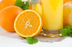 Limone di vetro della menta del succo d'arancia Immagine Stock Libera da Diritti
