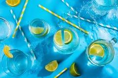 Limone e latte di calce in vari vetri e paglie ed acqua di carta spogliate di spruzzatura, concetto della bevanda di estate Fotografia Stock Libera da Diritti