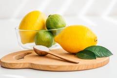 Limone e limette in un piatto trasparente ed in un cucchiaio di legno con sale fotografia stock libera da diritti
