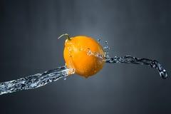 Limone e spruzzata di acqua Immagine Stock Libera da Diritti