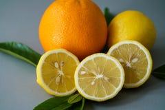 Limone ed arancia organici sui precedenti grigi - Fotografia Stock Libera da Diritti
