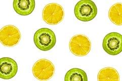 Limone giallo e verde Kiwi Fruits Pattern Immagine Stock Libera da Diritti